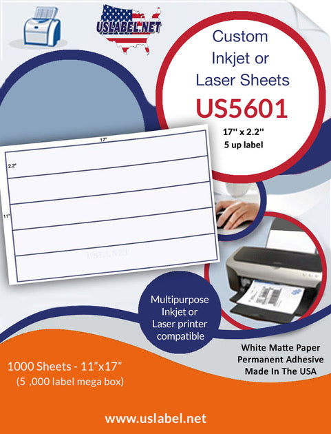 US5601 - 17'' x 2.2'' - 5 up label on a 11'' x 17'' sheet - 5,000 labels. - uslabel.net - The Label Resource Center