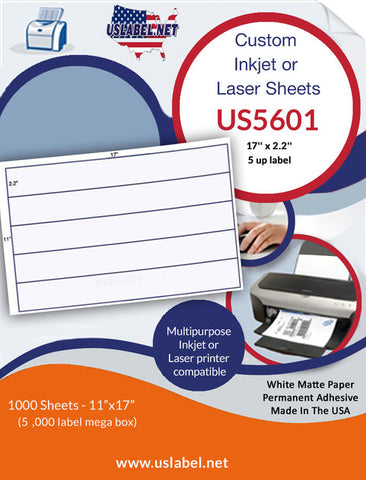 US5601 - 17'' x 2.2'' - 5 up label on a 11'' x 17'' sheet - 5,000 labels.