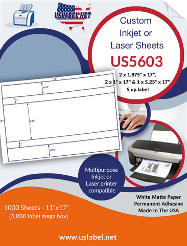 US5603 - custom 5 up label on a 11'' x 17'' sheet - 5,000 labels.