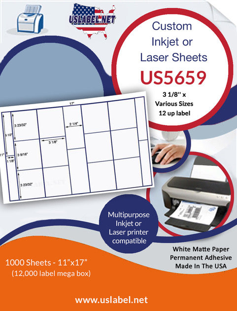 US5659-3 1/8'' x Various Sizes 12 up label on a 11'' x 17'' sheet-12,000 labels.