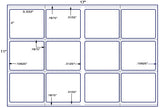 US5702 - 4'' x 3 1/3'' w perf-12 up label on a 11'' x 17'' sheet-12,000 labels.