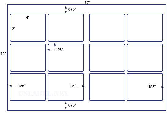 US5765 - 4'' x 3'' - 12 up label on a 11'' x 17'' sheet 12,000 labels.