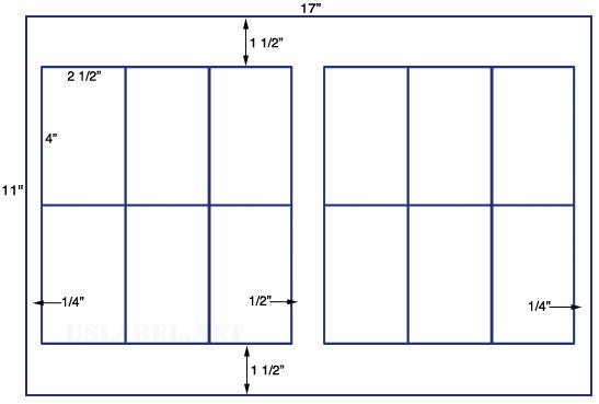 US5810 - 2 1/2'' x 4'' - 12 up label on a 11'' x 17'' sheet 12,000 labels.