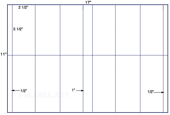 US5815 - 2 1/2'' x 5 1/2'' - 12 up label on a 11'' x 17'' sheet 12,000 labels.