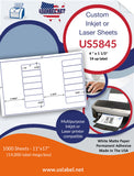 US5845 - 4 '' x 1 1/3'' - 14 up label on a 11'' x 17'' sheet 14,000 labels.
