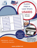 US6005 - 5 1/2'' x 1'' - 18 up label on a 11'' x 17'' sheet 18,000 labels.