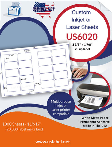 US6020 - 3 3/8'' x 1 7/8''  - 20 up label on a 11'' x 17'' sheet 20,000 labels.