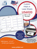 US6020 - 3 3/8'' x 1 7/8''  - 20 up label on a 11'' x 17'' sheet 20,000 labels. - uslabel.net - The Label Resource Center