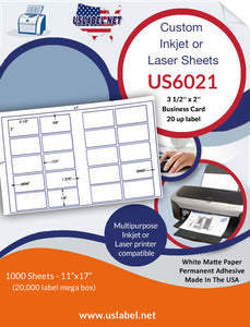 US6021 - 3 1/2'' x 2'' Biz. Card - 20 up on a 11'' x 17'' sheet 20,000 labels.