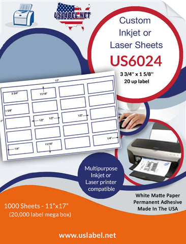 US6024 - 3 3/4'' x 1 5/8'' - 20 up label on a 11'' x 17'' sheet 20,000 labels.