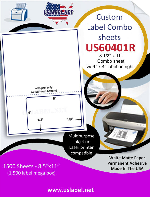 US60401R - 8 1/2'' x 11'' Combo sheet w/ 6 ' x 4'' label on right. - uslabel.net - The Label Resource Center
