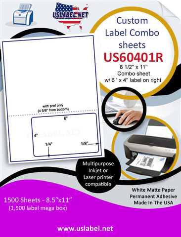 US60401R - 8 1/2'' x 11'' Combo sheet w/ 6 ' x 4'' label on right.