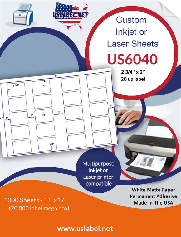 US6040 - 2 3/4'' x 2'' - 20 up label on a 11'' x 17'' sheet 20,000 labels.