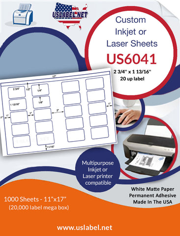 US6041 - 2 3/4'' x 1 13/16'' - 20 up label on a 11'' x 17'' sheet 20,000 labels.