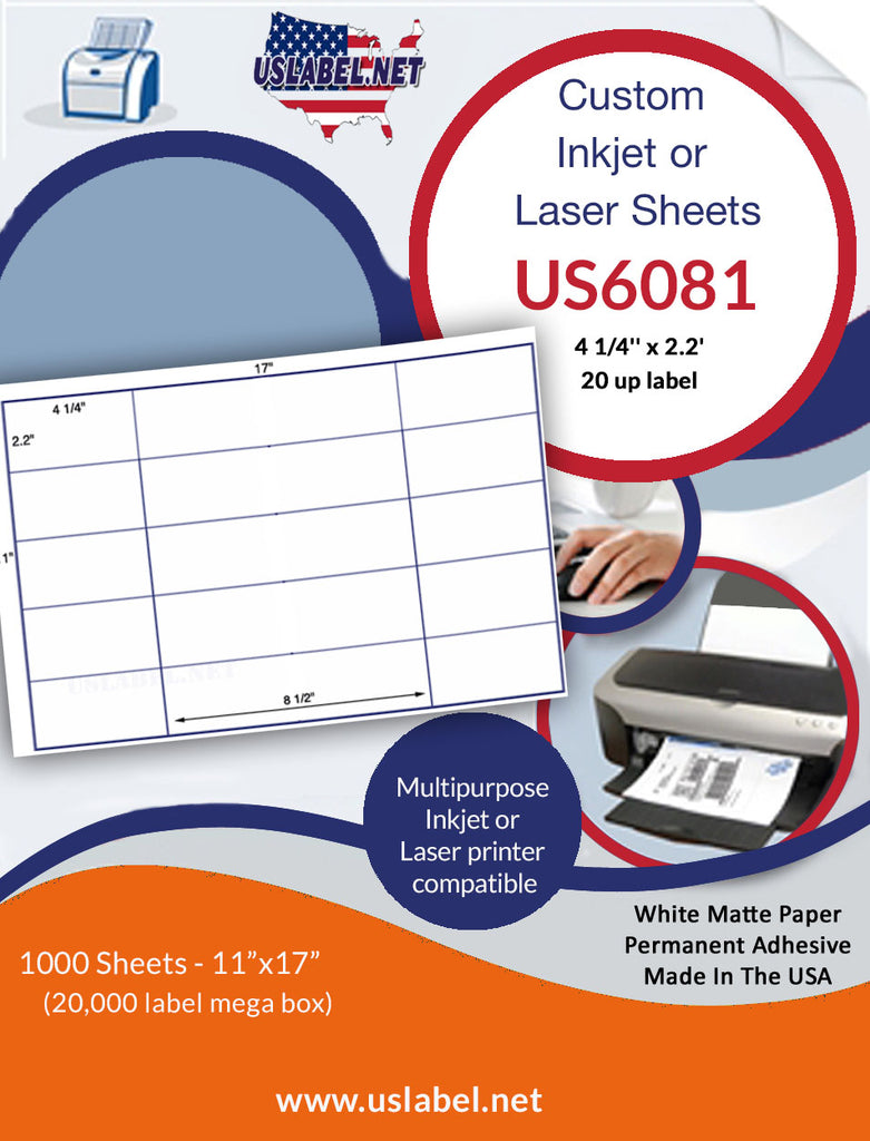 US6081 - 4 1/4'' x 2.2'' - 20 up label on a 11'' x 17'' sheet 20,000 labels. - uslabel.net - The Label Resource Center