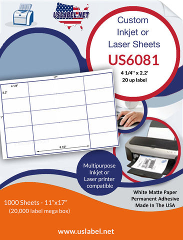 US6081 - 4 1/4'' x 2.2'' - 20 up label on a 11'' x 17'' sheet 20,000 labels.