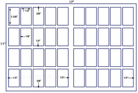 "US6419 - 2 3/8"" x 1 1/2"" - 40 up label on a 11'' x 17'' sheet 40,000 labels."