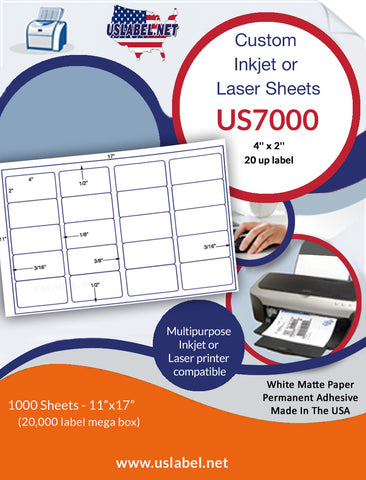 US7000 - 4'' x 2'' - 20 up label on a 11'' x 17'' sheet 20,000 labels.