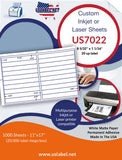 US7022 - 8 5/32'' x 1 1/16'' - 20 up label on a 11'' x 17'' sheet.