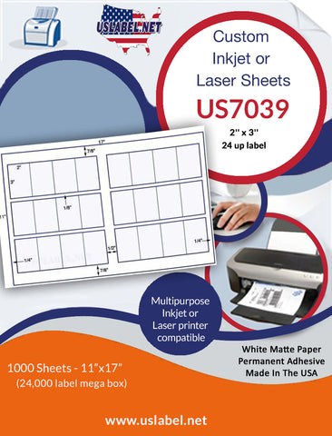 US7039 - 2'' x 3'' - 24 up label on a 11'' x 17'' sheet 24,000 labels.