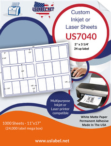 US7040 - 2'' x 3 1/4'' - 24 up label on a 11'' x 17'' sheet 24,000 labels.