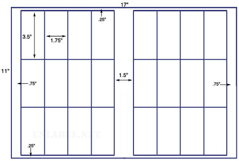 US7042 - 1.75'' x 3.5'' - 24 up label on a 11'' x 17'' sheet 24,000 labels.