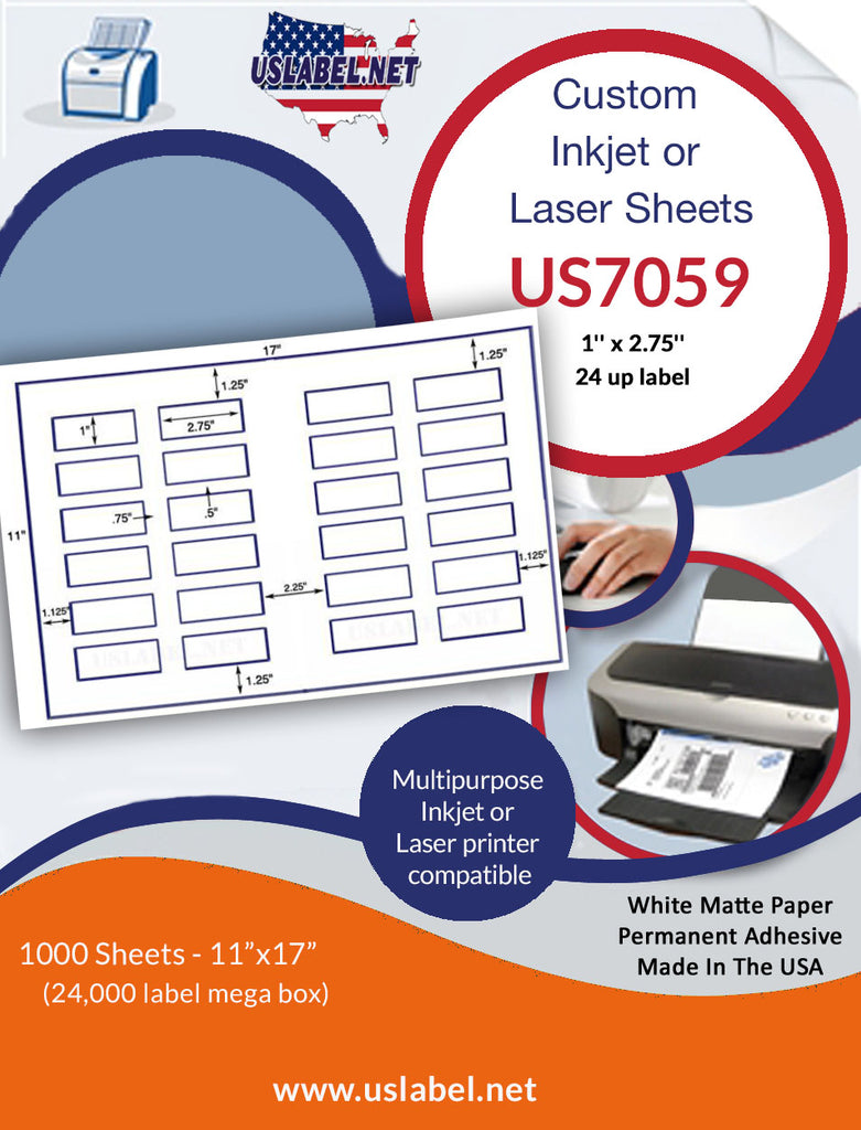 US7059 - 1'' x 2.75'' - 24 up label on a 11'' x 17'' sheet 24,000 labels. - uslabel.net - The Label Resource Center