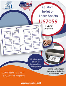 US7059 - 1'' x 2.75'' - 24 up label on a 11'' x 17'' sheet 24,000 labels.