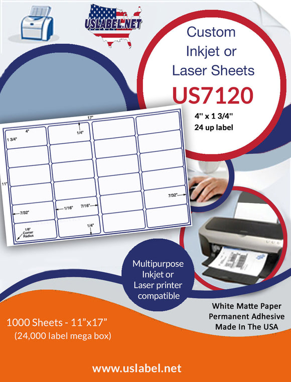 US7120 - 4'' x 1 3/4'' - 24 up label on a 11'' x 17'' sheet.