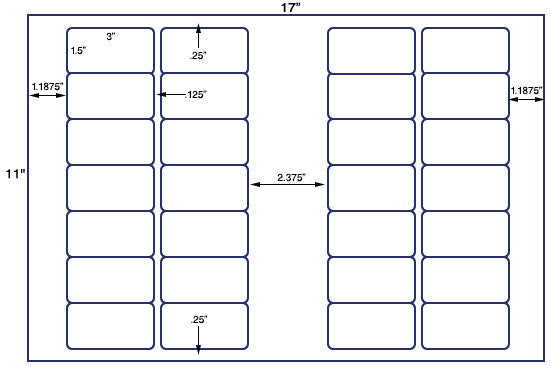 US7161 - 3'' x 1.5'' - 28 up label on a 11'' x 17'' sheet 28,000 labels.