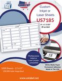 US7185 - 4'' x 1 11/32'' - 28 up label on a 11'' x 17'' laser sheet.
