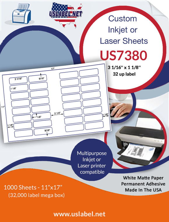 US7380 - 3 1/16'' x 1 1/8'' - 32 up label on a 11'' x 17'' laser sheet