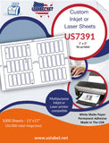 "US7391 - 1"" x 3"" - 36 up label on a 11'' x 17'' laser sheet."