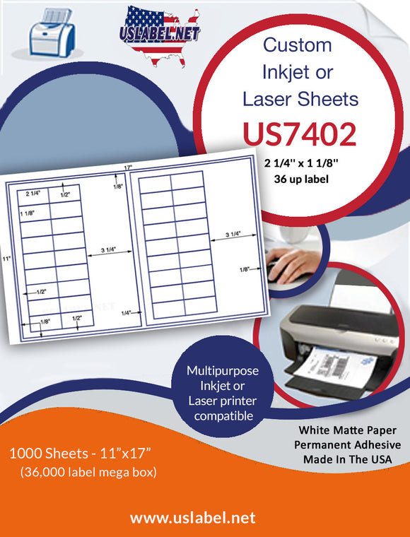 US7402 - 2 1/4'' x 1 1/8'' - 36 up label on a 11'' x 17'' laser sheet.