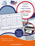 US7403-7 5/8'' x 1 1/4''-36 up label on a 11'' x 17'' laser sheet.