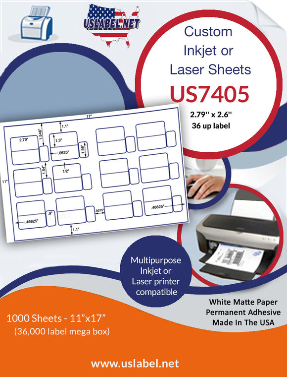 US7405 - 2.79'' x 2.6'' - 36 up label on a 11'' x 17'' laser sheet.