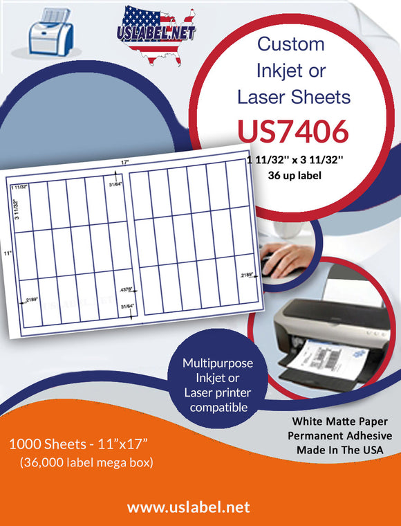 US7406-1 11/32'' x 3 11/32''-36 up label on a 11'' x 17'' laser sheet