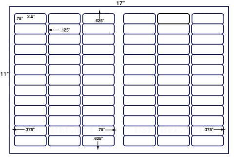 "US7417-2.5"" x .75''-78 up label on a 11'' x 17'' sheet - 78,000 labels."
