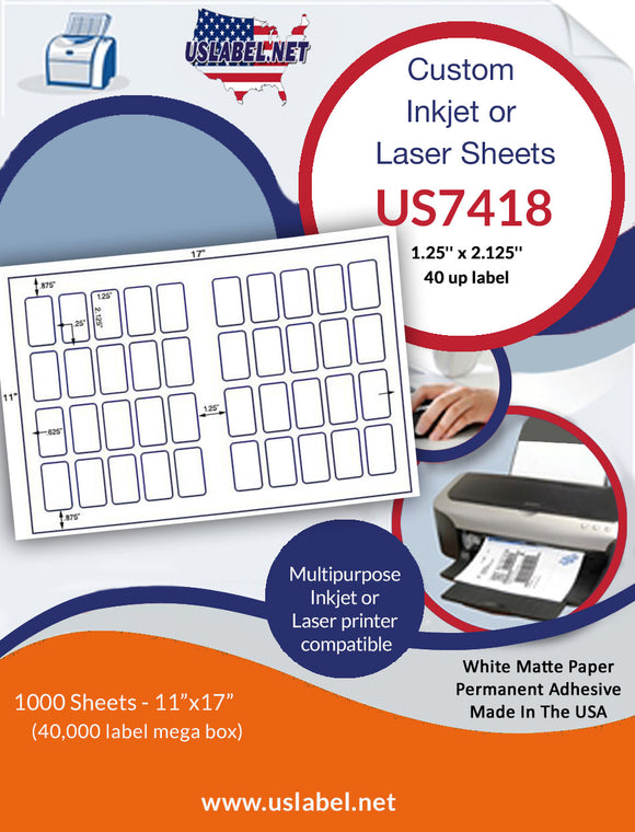 US7418 - 1.25'' x 2.125'' - 40 up label on a 11''x17'' laser sheet.
