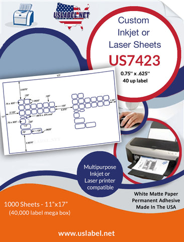 US7423 - .75'' x .625'' - 40 up label on a 11'' x 17'' laser sheet.