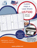 US7500 - 3 1/2'' x 1'' - 44 up label on a 11'' x 17'' laser sheet. - uslabel.net - The Label Resource Center