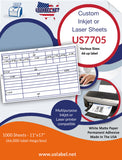US7705 Various sizes - 66 up label on a 11 3/4'' x 17'' laser sheet.