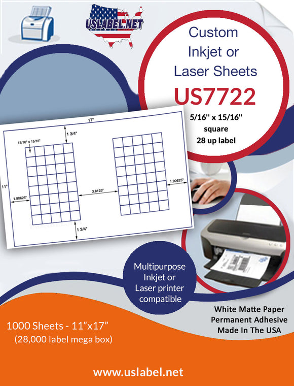 US7720 - 2 1/8'' x 1'' - 80 up label on a 11'' x 17'' laser sheet