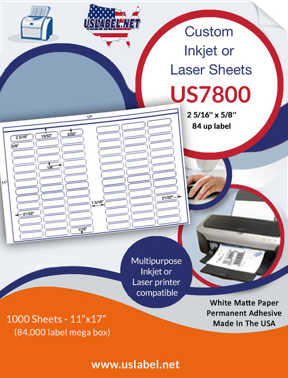 US7800 - 2 5/16'' x 5/8''-84 up label on a 11'' x 17'' laser sheet      Edit