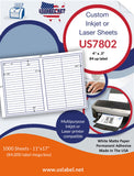 US7802 - 4'' x .5''- 84 up label on a 11'' x 17'' laser sheet