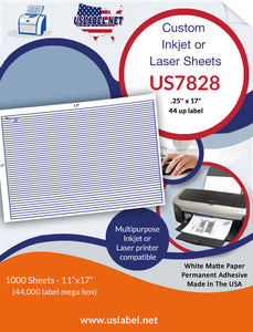 "US7828 - .25'' x 17""- 44 up label on a 11'' x 17'' laser sheet"