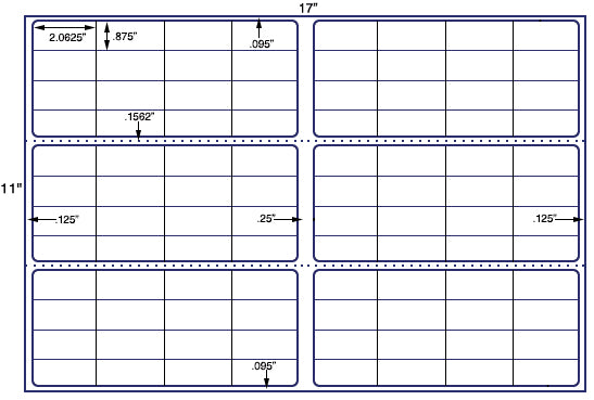 "US7838 - 2.065"" x .875'' - 96 up label on a 11'' x 17'' sheet - 96,000 labels."