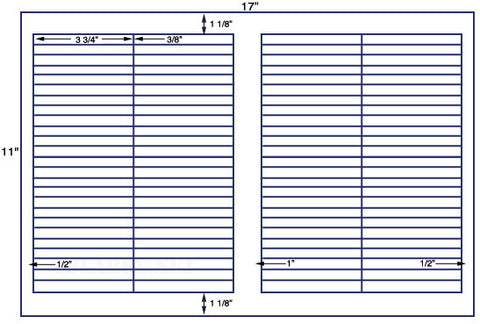 US7862- 3 3/4'' x 3/8'' - 100 up label on a 11'' x 17'' sheet - 100,000 labels.