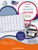 US7940 - 1 1/8'' x 1/2''- 160 up on a 11'' x 17'' laser sheet. - uslabel.net - The Label Resource Center