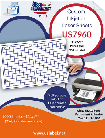 US7960 - 1'' x 5/8'' Price Label-254 up on a 11'' x 17'' laser sheet.
